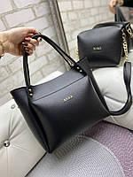 Большая черная женская сумка на плечо с косметичкой брендовая модная кожзам, фото 1
