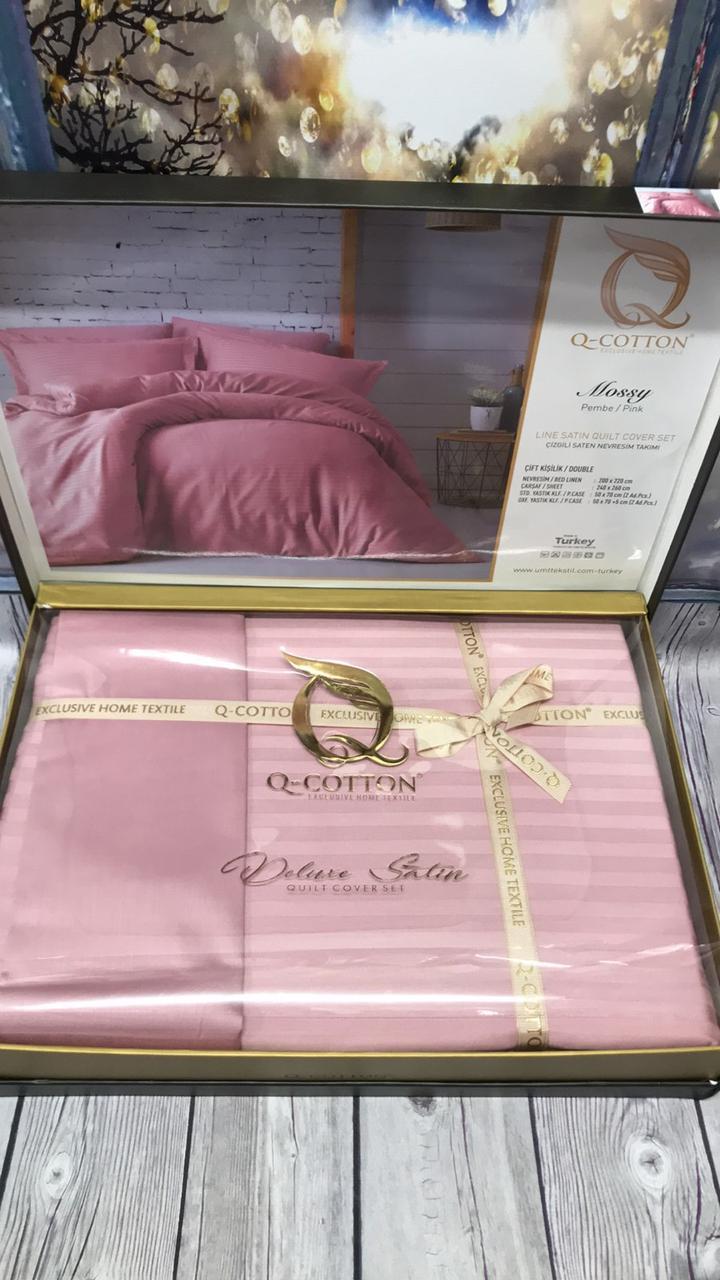Постельное Белье Сатин Люкс Двуспальное Евро 200*220 см Q-CottonТурция Розовое