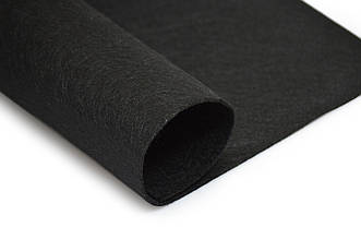 Фетр листовой, черный, 2мм