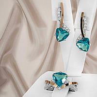 """Срібний набір прикрас з золотими вставками і блакитними фіанітами """"326"""", фото 1"""