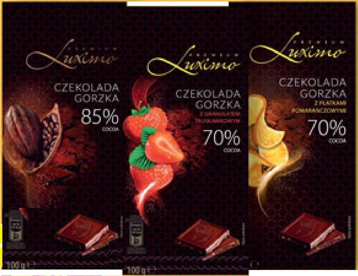 Шоколад черный Luximo Premium с апельсином 70 % какао 100 г Польша