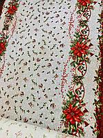 Скатертина новорічна, рогожка, 150*200
