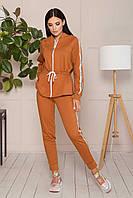 Стильный спортивный костюм женский осенний коричневый 50 размер