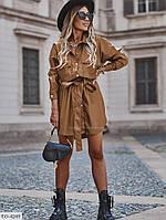 Женское стильное платье-рубашка из эко-кожи, в больших размерах