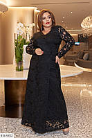Женское красивое вечернее гипюровое платье в пол в большом размере с разрезом