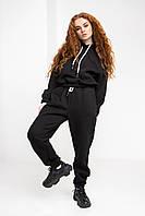Теплый базовый спортивный костюм черного цвета