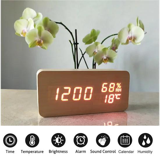 Электронные Настольные Часы VST-862S  бежевые,красная подсветка