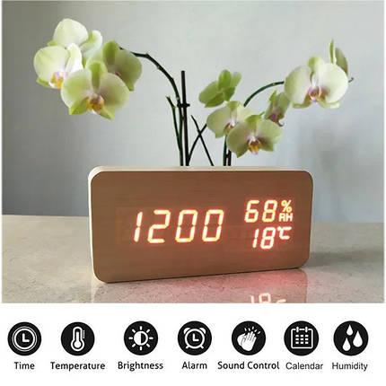 Электронные Настольные Часы VST-862S  бежевые,красная подсветка, фото 2