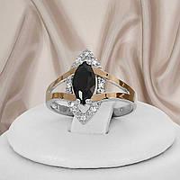 """Кольцо серебряное с черным камнем и золотыми вставками """"321"""", фото 1"""