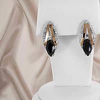 """Сережки срібні з золотими пластинами і чорними фіанітами """"321"""", фото 1"""