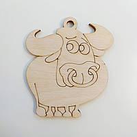 Новогодняя деревянная елочная игрушка заготовка Бычок симпатяга