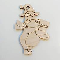 Новогодняя деревянная елочная игрушка заготовка Бычок с сапогом
