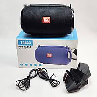 Портативная беспроводная bluetooth колонка блютуз бумбокс для телефона музыки с флешкой черная T&G SPS UBL