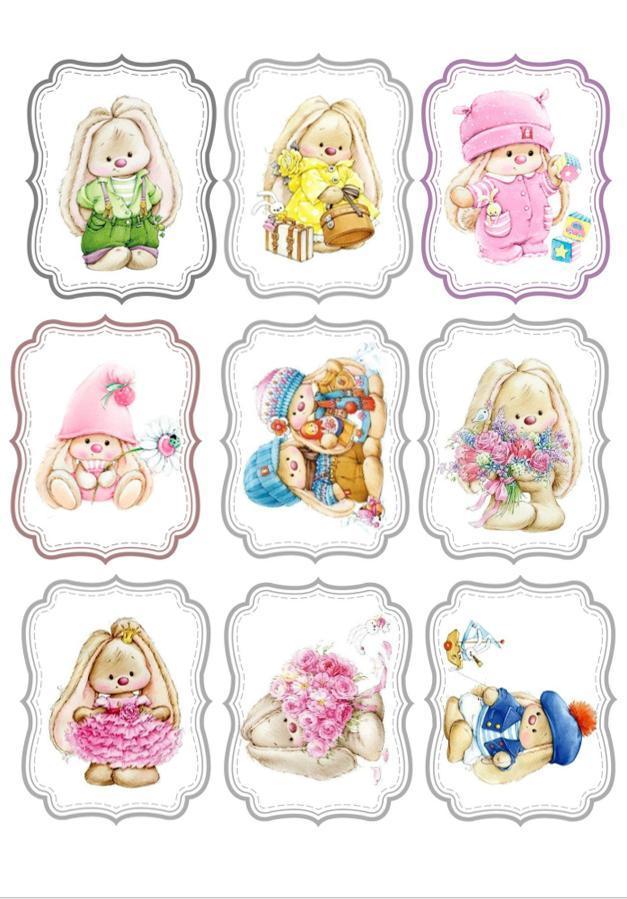 Вафельная картинка Кролики | Съедобные картинки Зайчики | Кролики картинки разные Формат А4
