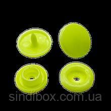 Кнопки пластикові кольорові для дитячого одягу і постільної білизни Т5 Ø 11,7 мм Салат (10 компл.)