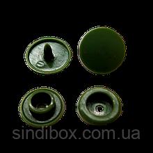 Кнопки пластикові кольорові для дитячого одягу і постільної білизни Т5 Ø 11,7 мм Хакі (10 компл.)