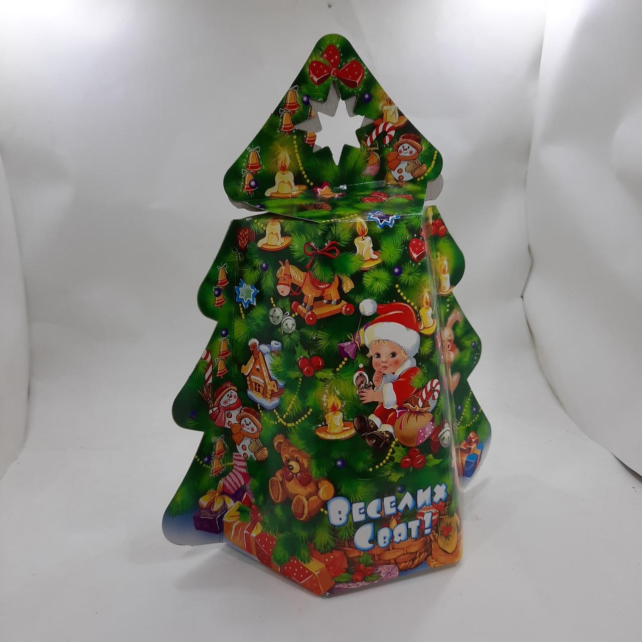 Новогодняя подарочная картонная упаковка для конфет 800 грамм Елка