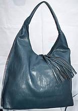 Жіноча блакитна сумка-торба на плече з штучної шкіри 35*37 см