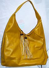 Женская желтая сумка-торба на плечо из искусственной кожи 35*37 см