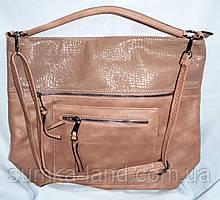 Жіноча пудрова сумка-торба на плече з штучної шкіри 34*34 см