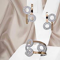 """Жіночий срібний набір прикрас з золотими пластинами і білими фіанітами """"402"""", фото 1"""