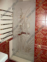 Стеклянная дверь в душевую из стекла с матированием, фото 1