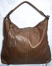 Жіноча сумка-торба на плече з штучної шкіри колір хакі 41*36 см