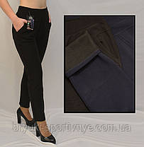 Женские зимние брюки с начесом в больших размерах  Лосины женские с карманами - батал 2XL-3XL Черный, фото 3