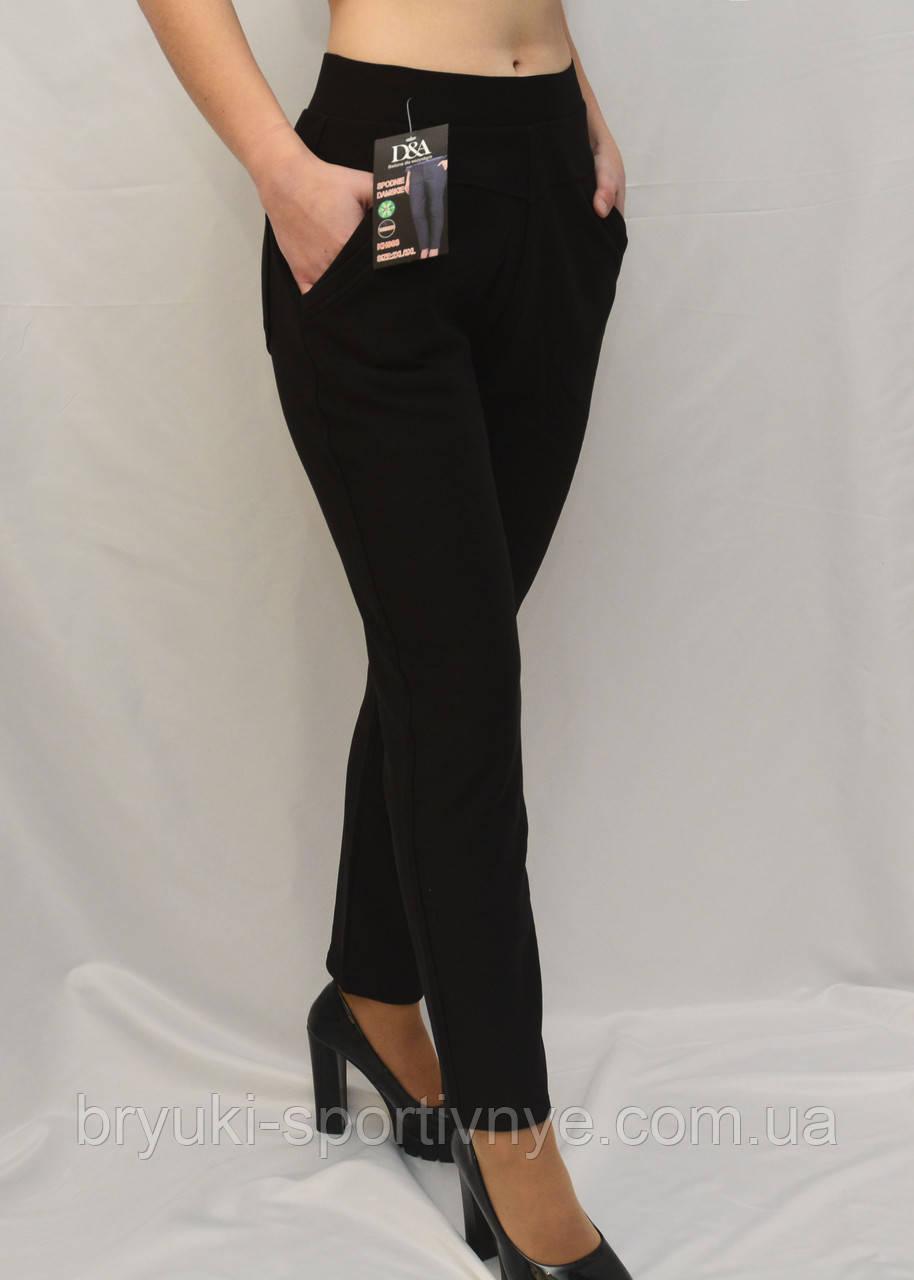 Женские зимние брюки с начесом в больших размерах  Лосины женские с карманами - батал 2XL-3XL Черный