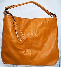 Женская желтая сумка-торба на плечо из искусственной кожи 41*36 см
