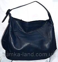 Женская синяя сумка-торба на плечо из искусственной кожи 38*36 см