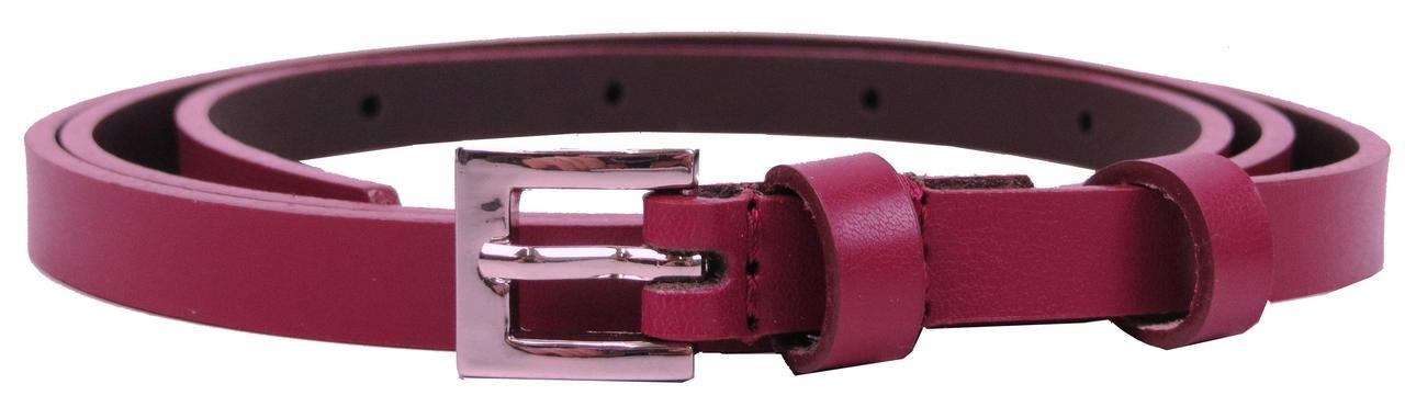 Узкий женский кожаный ремень, поясок 1 см Rovicky бордовый
