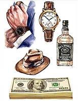 Вафельная картинка Мужской набор | Съедобные картинки Часы Деньги | Для мужчины картинки разные Формат А4