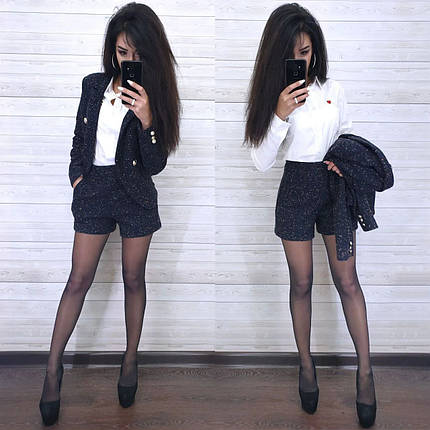 Костюм пиджак букле на подкладке и шорты, фото 2
