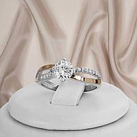 """Жіноче срібне кільце з золотими пластинами і білими фіанітами """"358"""", фото 1"""