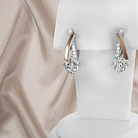 """Серьги серебряные с золотыми вставками и белыми фианитами """"358"""", фото 1"""
