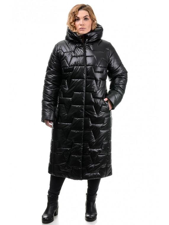 Очень теплое БАТАЛЬНОЕ пальто пуховик 52,54,56,58 размер Черный