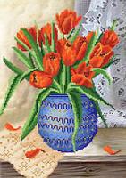 Схема на ткани для вышивки бисером Время тюльпанов РКП-430