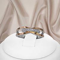 """Женское серебряное кольцо с золотыми пластинами и белыми фианитами """"371"""", фото 1"""