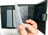 Мужской черный кошелек Philip Plein из натуральной кожи с документами 10*14 см, фото 2