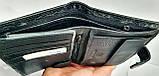 Мужской черный кошелек Philip Plein из натуральной кожи с документами 10*14 см, фото 3