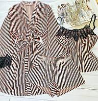 Женская велюровая пижама S-M пудра  в  полоску, фото 1
