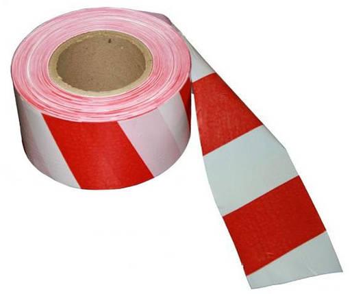 Сигнальная оградительная лента красно белая 48мм*50м, фото 2