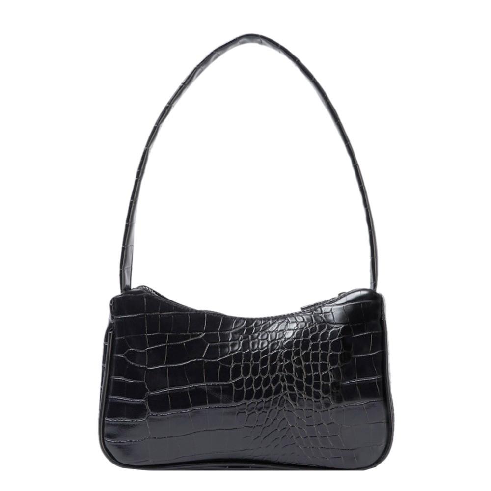 Женская сумочка лодочка из крокодила в черном цвете