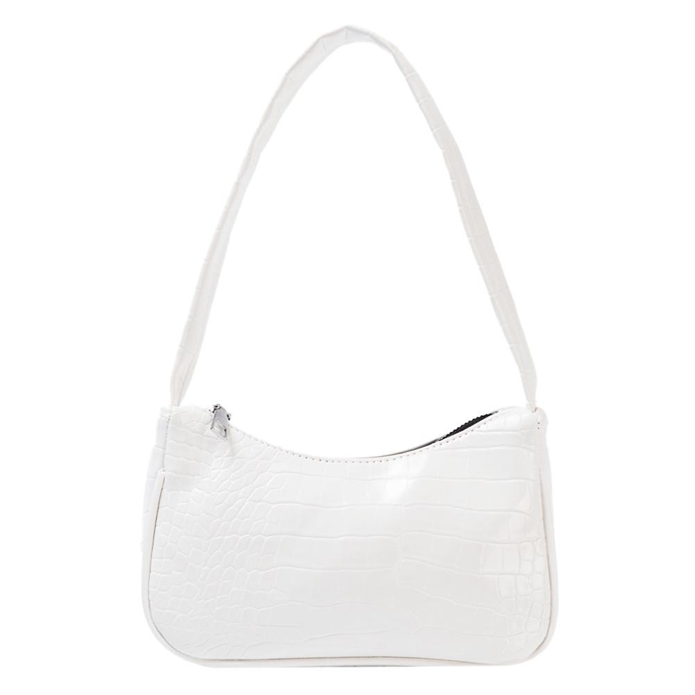 Женская сумочка лодочка из крокодила в белом цвете