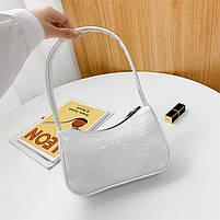 Женская сумочка лодочка из крокодила в белом цвете, фото 9