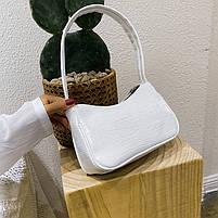 Женская сумочка лодочка из крокодила в белом цвете, фото 10