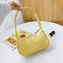 Женская сумочка лодочка из крокодила желтого цвета, фото 2