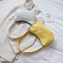 Женская сумочка лодочка из крокодила желтого цвета, фото 7