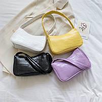 Женская сумочка лодочка из крокодила желтого цвета, фото 3